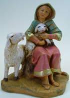 Fontanini 095 845 - Frau mit Schaf und Lamm zu 9,5cm tipo legno