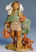 Fontanini 150 408 - Junge mit Lamm und Hund zu 15cm tipo legno