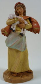 Fontanini 095 997 - Frau mit Lamm zu 9,5cm tipo legno