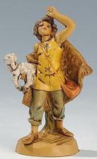 Fontanini 065 12 - Hirt mit Lamm schauend zu 6,5cm tipo legno