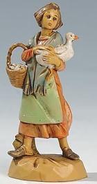 Fontanini 065 14 - Frau mit Gans zu 6,5cm tipo legno