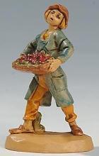 Fontanini 065 19 - Junge mit Korb zu 6,5cm tipo legno
