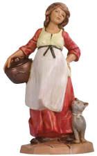 Fontanini 065 45 - Frau mit Katze zu 6,5cm tipo legno