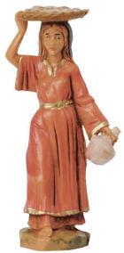 Fontanini 065 50 - Frau mit Korb zu 6,5cm tipo legno