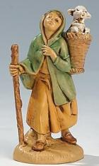 Fontanini 065 34 - Frau mit Lamm im Korb zu 6,5cm tipo legno