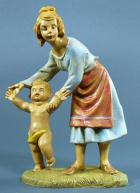 Fontanini 100 208 - Frau mit kleinem Kind zu 10cm tipo legno