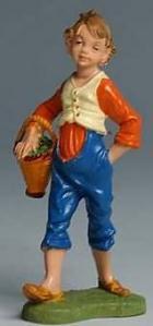 Fontanini 100 134 - Junge mit Korb zu 10cm coloriert