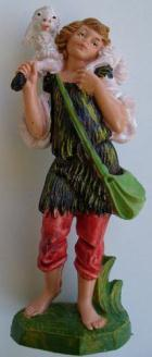 Fontanini 100 123 - Junge mit Schulterschaf zu 10cm coloriert