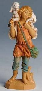 Fontanini 100 123 - Junge mit Schulterschaf zu 10cm tipo legno