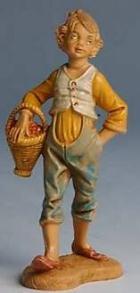 Fontanini 100 134 - Junge mit Korb zu 10cm tipo legno