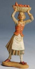 Fontanini 100 142 - Frau mit Früchtekorb zu 10cm tipo legno