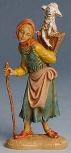 Fontanini 100 197 - Frau mit Korb und Schaf zu 10cm tipo legno