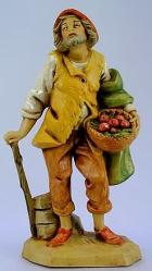 Fontanini 120 108 - Alter Mann mit Korb zu 12cm tipo legno