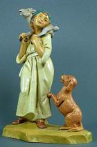 Fontanini 120 122 - Mädchen mit Hund zu 12cm tipo legno