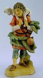 Fontanini 120 123 alt - Junge mit Schulterschaf zu 12cm tipo legno