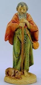 Fontanini 120 142 - Hirt alt mit Stab zu 12cm tipo legno