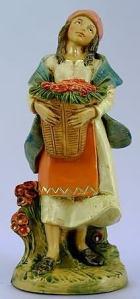 Fontanini 120 152 - Mädchen mit Blumenkorb zu 12cm tipo legno