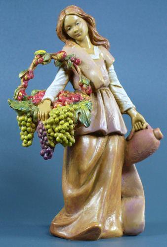 Fontanini 120 1078 - Frau mit Früchten und Amphore zu 12cm tipo legno