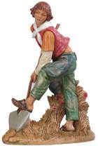 Fontanini 300 54 - Junger Mann mit Schaufel zu 30cm tipo legno