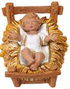 Fontanini 300 N6N25 - Jesuskind in Kunststoffkrippe zu 30cm tipo legno