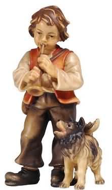 801076 Ko - Bub mit Trompete und Hund