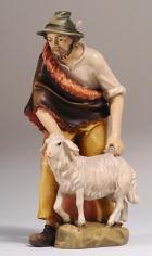 801035alt Ko - Hirt stehend mit Schaf zu 9,5cm coloriert, alte Ausführung mit Sockel