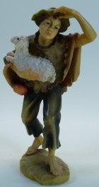 801054alt Ko - Junge mit Schaf im Arm zu 9,5cm coloriert, alte Ausführung mit Sockel