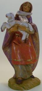 Fontanini 120 193 - Frau mit Lamm zu 12cm tipo legno