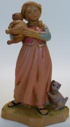 Fontanini 120 132 - Mädchen mit Kätzchen zu 12cm tipo legno