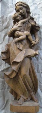 Hl. Maria mit Jesuskind, 50cm hoch, aus Holz naturbelassen