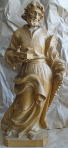 Hl. Josef als Handwerker, 54cm hoch, aus Holz hell gebeizt