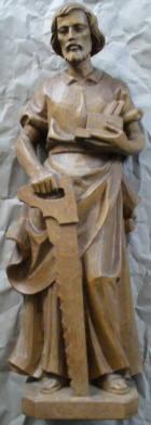 Hl. Josef als Handwerker, 53cm hoch, aus Holz hell gebeizt