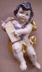 Putto mit Harfe, Holz, 15cm hoch, antik gefaßt