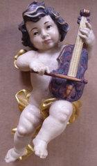 Putto mit Geige, Holz, 15cm hoch, antik gefaßt