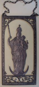 Relief Madonna aus Zinn auf Glas, 8,5cm x 17cm