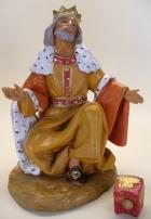 Fontanini 150 404 Bruch - König weiß kniend zu 15cm tipo legno