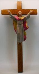 Fontanini 120 171 - Auferstandener Jesus am Kreuz zu 12cm tipo legno