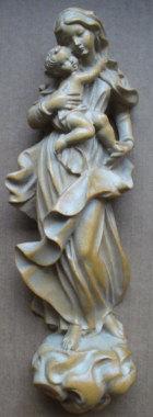 Hl. Maria mit Jesuskind zum Hängen, 29cm hoch, aus Holz hell gebeizt