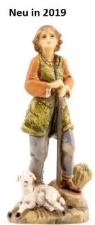 Fontanini 095 974 - Hirt mit Stock und  Lamm zu 9,5cm tipo legno