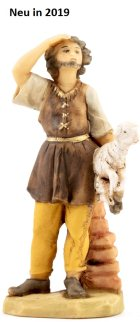 Fontanini 095 975 - Hirt mit Lamm im Arm schauen zu 9,5cm tipo legno