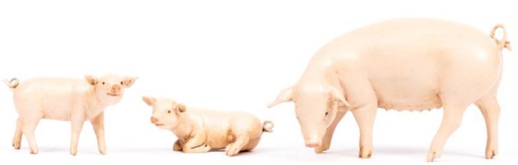 Fontanini 190 309 - Schweinefamilie zu 19cm tipo legno