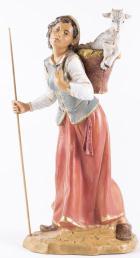 Fontanini 300 61 - Frau mit Lamm im Korb zu 30cm tipo legno